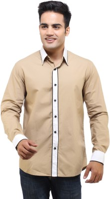 See Designs Men's Solid Casual Beige Shirt