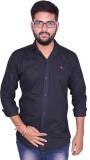 US Club Men's Solid Casual Black Shirt