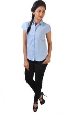 No Code Women's Solid Casual Light Blue Shirt