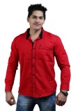 Vigroll Shirts Men's Solid Casual Red Sh...