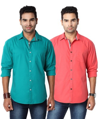 Suspense Men's Solid Casual Green, Red Shirt