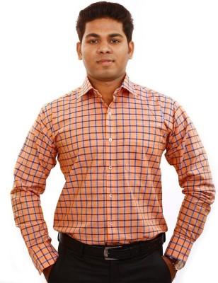 Iconic Men's Checkered Formal Orange Shirt
