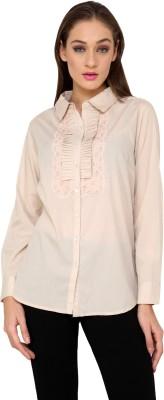 Rena Love Women's Solid Casual Beige Shirt