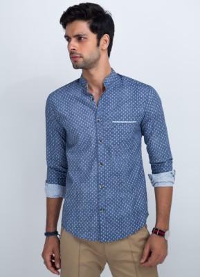 Mr Button Men's Polka Print Casual Blue Shirt