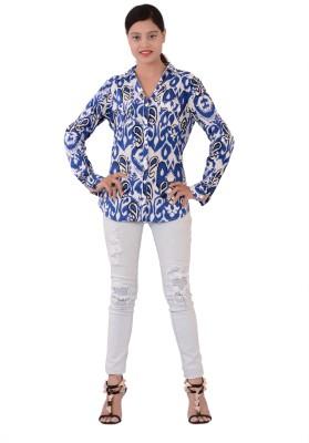 Fashnopolism Women's Printed Casual Blue, White Shirt