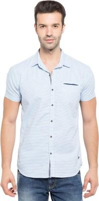 Status Quo Men,s Solid Casual Blue Shirt