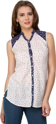 Pankhuri For Women Women's Floral Print Casual White, Red, Blue Shirt