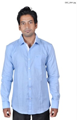 American Fox Men's Solid Casual Linen Light Blue Shirt