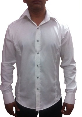 Archini Men's Solid Party, Casual, Formal White Shirt