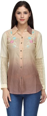 India Inc Women's Embroidered Casual Beige Shirt
