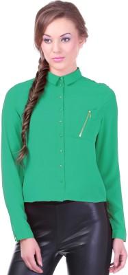 Street 9 Women's Solid Casual Green Shirt