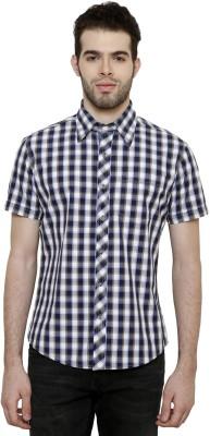 True Tittos Men's Checkered Casual Dark Blue, Beige, White Shirt