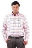 Riparv Men's Checkered Formal Orange Shi...