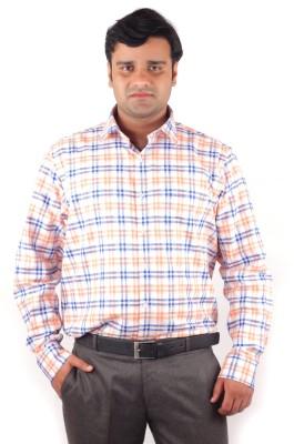 RIPARV Men's Checkered Formal Orange Shirt