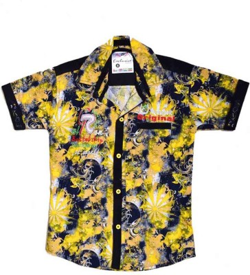 British Terminal Boys Self Design Casual Yellow Shirt