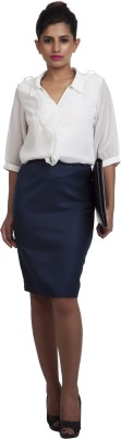 Pour Femme Women's Solid Formal White Shirt