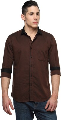 British Club Men's Solid Casual Brown Shirt