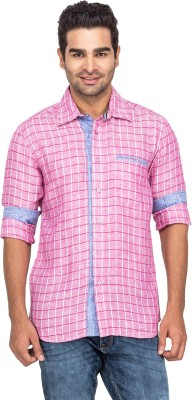 Laven Men's Checkered Casual Linen Pink Shirt