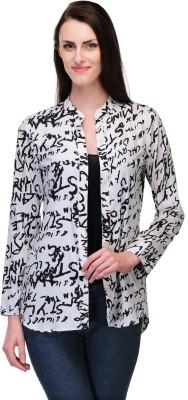 Just Wow Women's Graphic Print Casual Black, White Shirt