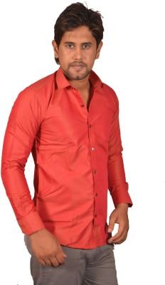 Koridor Men's Solid Formal Red Shirt