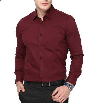 FIRSTRACE Men's Solid Casual Maroon Shirt