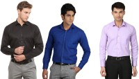 La Melodia Formal Shirts (Men's) - La Melodia Men's Solid Formal Black, Blue, Purple Shirt(Pack of 3)