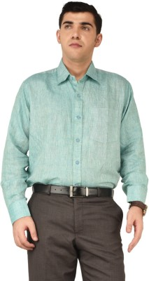 Alpha Centauri Men's Solid Formal Green Shirt
