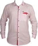 Zedx Men's Solid Casual Pink Shirt