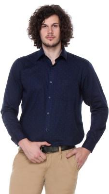 Hancock Men's Printed Formal, Casual Dark Blue Shirt