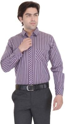 Janus Men's Checkered Formal Purple Shirt