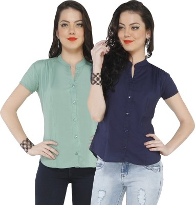 The Cotton Company Women,s Solid Casual Blue Shirt