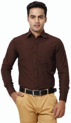 MAKHKHA Men's Solid Formal Brown Shirt