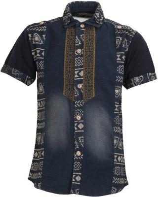 Font Kids Boy's Self Design Casual Blue Shirt