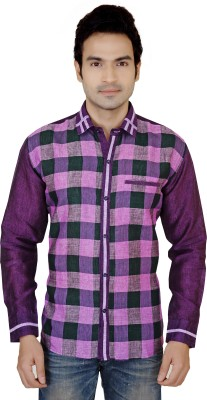 X-Secret Men's Self Design Festive Linen Purple Shirt
