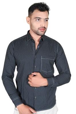 Fabrobe Men's Self Design Casual Black Shirt