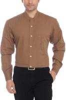 Colorplus Formal Shirts (Men's) - ColorPlus Men's Solid Formal Linen Brown Shirt