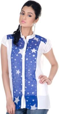 Veakupia Women's Printed Casual White Shirt