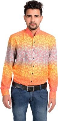 Riwas Collection Men's Printed Casual Orange, Pink Shirt