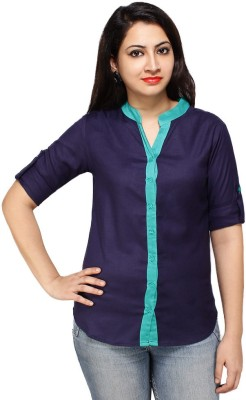 Styles Clothing Women's Solid Casual Dark Blue Shirt