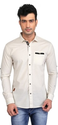Glabrous Men,s Solid Casual Beige Shirt