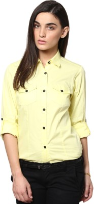 Dazzio Womens Solid Formal Yellow Shirt