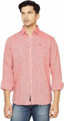 La Seven Men,s Solid Casual Linen Red Shirt