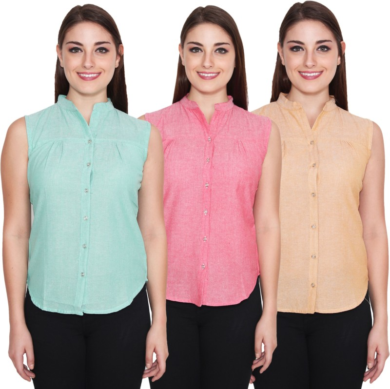 NumBrave Women's Solid Casual Green, Pink, Beige Shirt(Pack of 3)