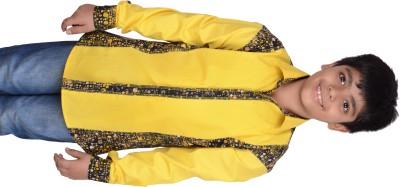 Kiaraa Boy's Printed Casual Yellow Shirt