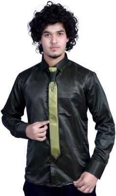 Bucci Men's Solid Wedding Dark Green Shirt