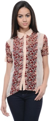 Zurick Women's Printed Casual Beige Shirt