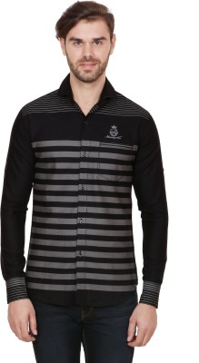 Alive Sport Men's Striped Casual Black Shirt