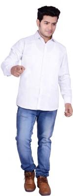 Buransh Men's Solid Formal White Shirt