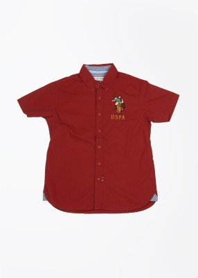 U.S. Polo Assn. Boy's Solid Casual Red Shirt
