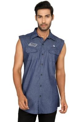 Macoro Men,s Solid Casual Blue Shirt